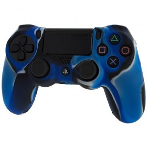 Assecure Pro Soft Silicone Protective Cover With Ribbed Handle Grip Blue Ps4