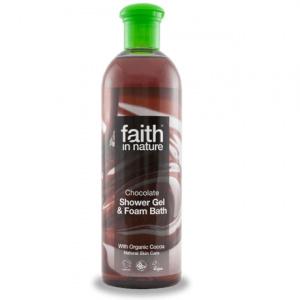 faith in nature Gel de dus si spuma de baie, cu ciocolata, 400 ml
