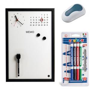 Bi-silque Set Ceas Memo-Whiteboard magnetic, 4 Markere Carioca, burete, 30 x 40 cm