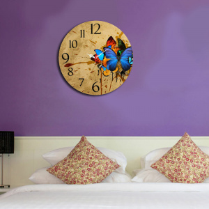 Home Art Ceas decorativ de perete din lemn, 238HMA3138