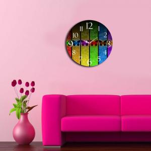 Home Art Ceas decorativ de perete din lemn, 238HMA3139