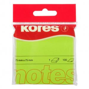 Kores Notite autoadezive, 75 x 75 mm, 100 file/bucata, verde