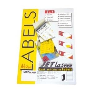 Etilux Etichete autoadezive pentru biblioraft 5 cm, 7/A4, 192 x 38 mm, 25 coli/top, JETLASCOP - albe